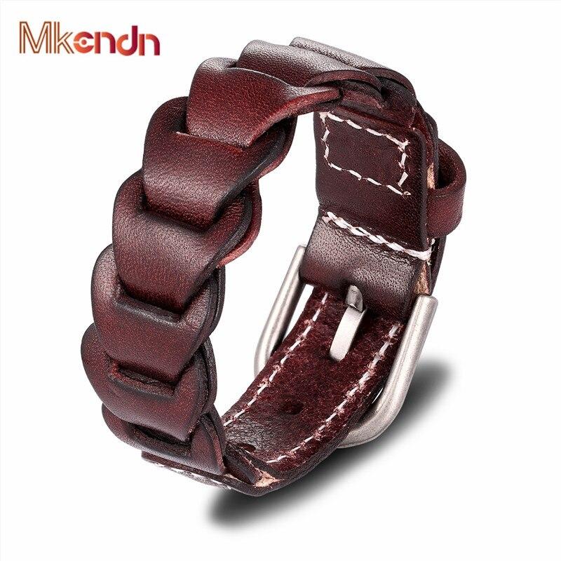 2f95a811c844 MKENDN alta calidad nueva moda Retro pulsera homme trenza negra auténtica pulsera  de cuero tejido hombres