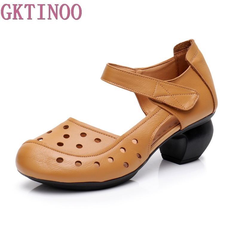 GKTINOO Retro Genuine Leather Women Sandals Cut Outs Women Sandals Summer 3 Colors Mid Thick Heels
