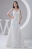 2018 nouvelle conception chaude moitié manches taille personnalisée robe de mariée chérie élégant blanc dentelle veste sirène mère de la mariée robe