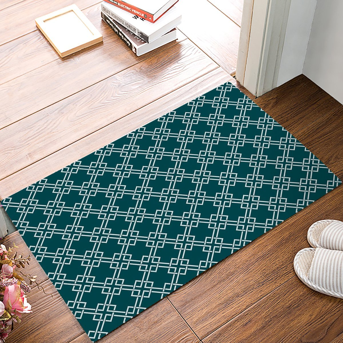 White Kitchen Floor Mats: Classic Blue And White Geometric Pattern Door Mats Kitchen