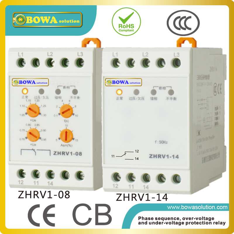 Phase sequence,over-volatage and under-voltage protection relay installed in air conditioning units,pumps, fans and other motors vj5 lcd display phase failure sequence unbalance protective relay 3 phase and voltage relay
