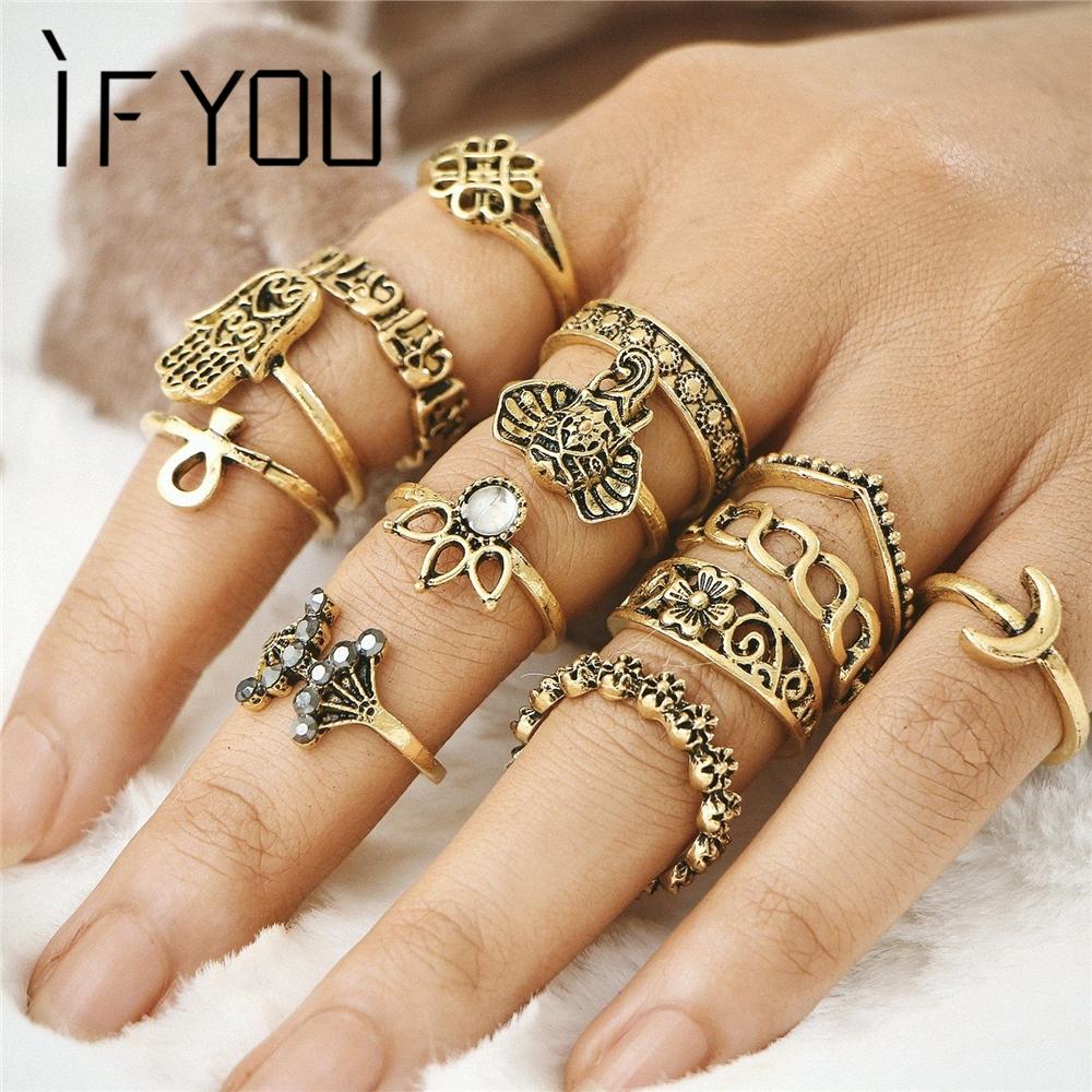 IF YOU Vintage Lotus Midi Knuckle Ring Set For Women Retro Antique Gold Color Elephant Hasma Moon Ethnic Fingers Rings Gift