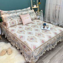 New Luxury White European Style Lace Bedding Set 3pcs Jacquard Bedspread Bed sheet Linen Pillowcases Size Can Be Customized
