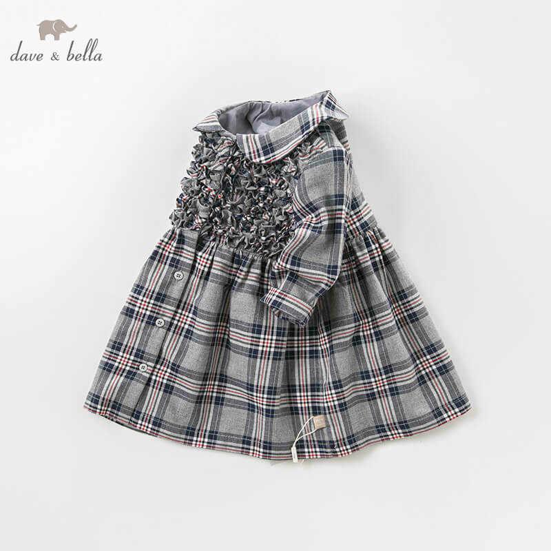 Dave bella/осеннее модное платье в клетку для маленьких девочек; детское платье для дня рождения; детская одежда для малышей; DB8684