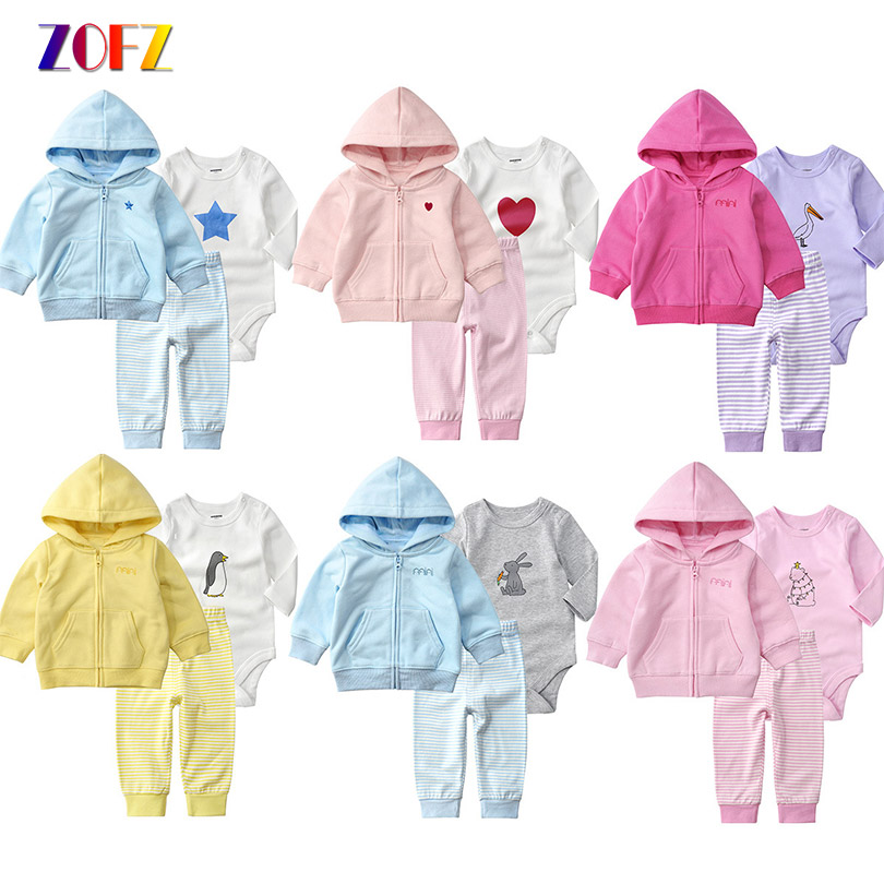 ZOFZ 3pcs/set Baby Clothing Newborn Baby Long Sleeve Cotton Girls Boys Clothes spring autumn jacket Cute Romper Suit dinstry 2018 spring and autumn newborn baby cotton long sleeve romper lion pattern