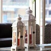 American retro ностальгические белый деревянный пол лампа с защитой от ветра подсвечник домашний сад модель комнаты творческий украшения
