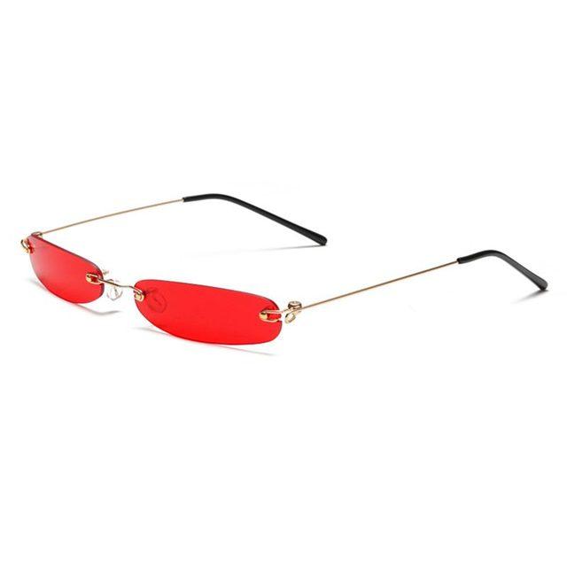 Retângulo sem aro óculos de Sol Das Mulheres Dos Homens 90 S Designer de Pequena Matiz Shades Óculos de Sol Sem Moldura Estreita