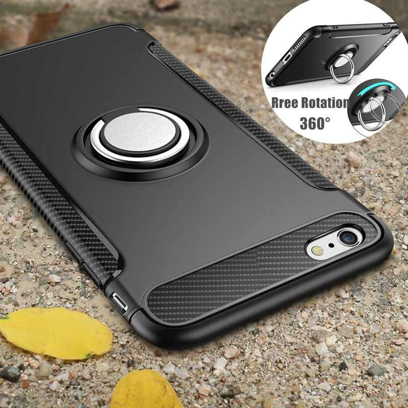 Shockproof Case for iPhone 7 6 6s 8 Plus X 5 5s se Xs Max XR Silicone and Hard Back Cover With Magnetic Metal Phone Ring Stand