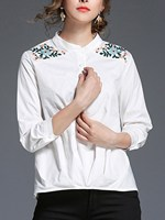 Floral Blouse Long Sleeve Button Band Collar Crinkle Embroidered Shirt Casual Office Work Tops
