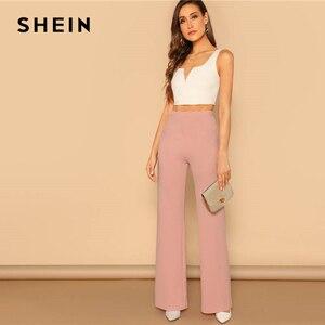 Image 4 - SHEIN Pink Elastic High Waist Straight Leg Solid Long Pants Women Trousers Office Lady Spring Elegant Workwear Wide Leg Pants