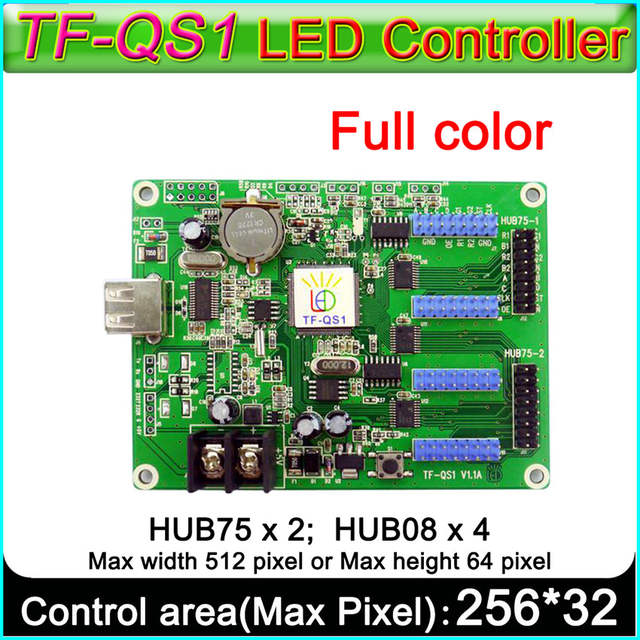 US $12 0 |TF QS1 Full color LED Sign control card  Hub75 port Hub 08 port  RGB Led controller-in LED Displays from Electronic Components & Supplies on