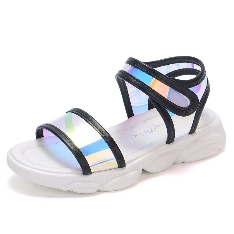 Summer Girls Sandals Baby Beach Shoes Kids Sandals Children Shoes Fashion Patent Leather Colorful Mirror Reflection 3 To 14 Yrs