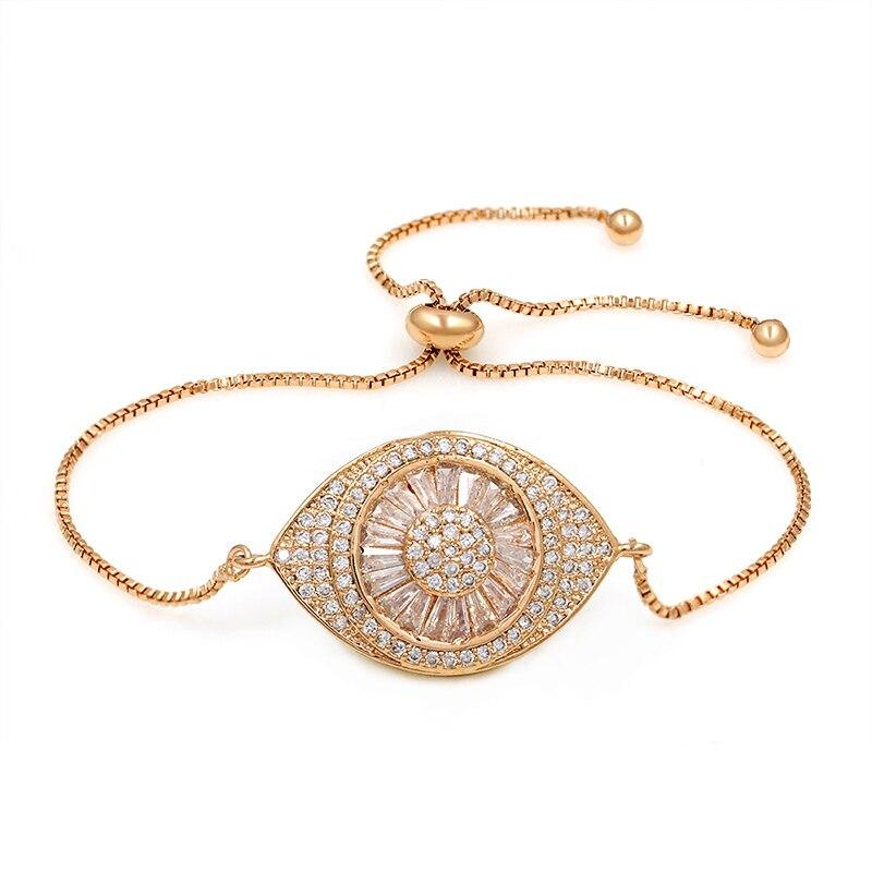 Sparkling Cubic Zirconia Crystal Evil Eye Adjustable CZ Zircon Bracelets for Women in Rose Gold or Silver Colors
