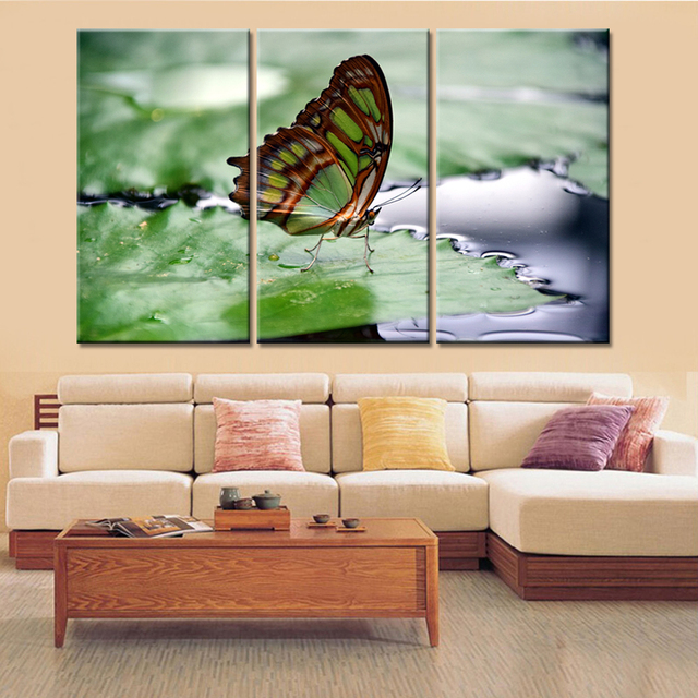 High Quality 3 Piece Drop Shipping Home Decor Insect Butterfly Oil Spray Painting  Decorative Canvas Wall Art Picture