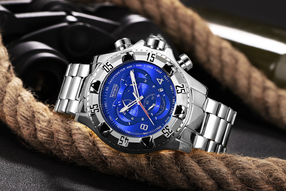 19 Top Brand Luxury Mens Oversize Watch Gold Business Steel Quartz Clock Waterproof Sport Military Chronograph Male Wristwatch 36
