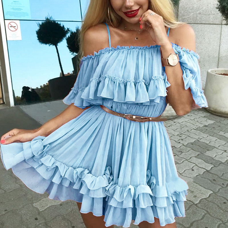 Simplee Elegant ruffle off shoulder women dress Spaghetti strap chiffon summer dresses Casual holiday female pink short sundress 5