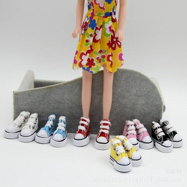 33259b73705 2 Stks = een paar schoenen Diverse Kleuren 3.5 cm Canvas Schoenen voor BJD  Pop Speelgoed