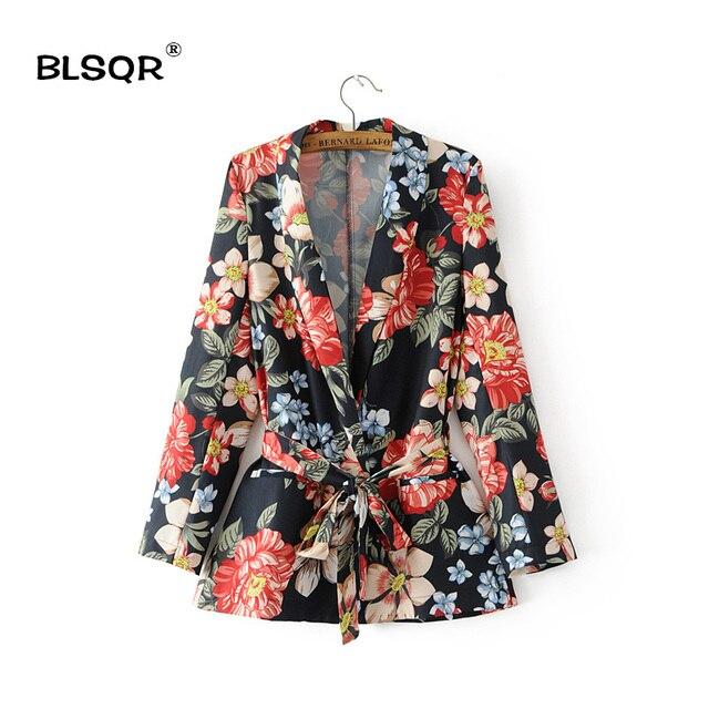 BLSQR Femmes Mode En Mousseline de Soie Imprimé floral Poches Blazer V-cou  Manches Longues cf872c33391