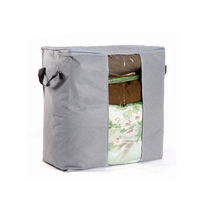 Image 2 - Portable Clothes Storage Bag Organizer Non woven Folding Closet Organizer Clothing Pillow Quilt Blanket Bedding Toys Organizer-in Storage Bags from Home & Garden