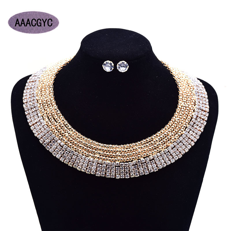 AAACGYC A016 Jewelry Necklace 8 layers Gold color Rhinestone necklace jewelry Wedding 2018 new fashion womens jewelry set