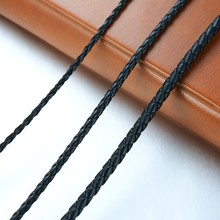 Men's Leather Rope Choker Necklace Black Male Colar 20inches faux leather rope conch choker necklace