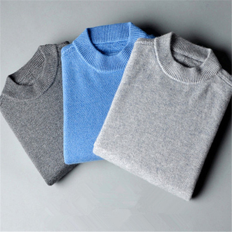 Large Size Pure Goat Cashmere Thick Knit Men England Style Half High Collar Pullover Sweater Solid Color S-2XL