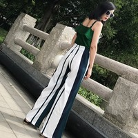 Pantalones rayas verticales cintura alta bota ancha 2