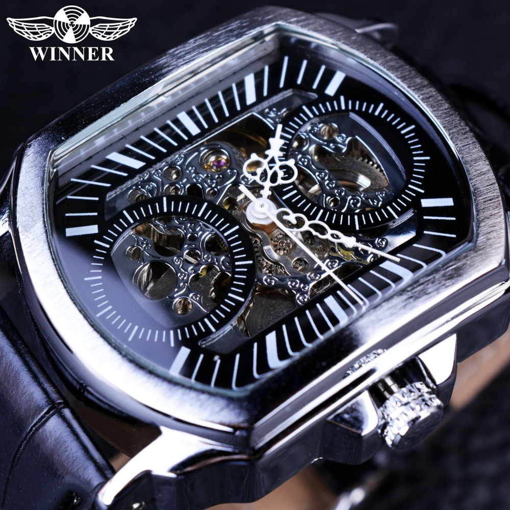 Winner 2016 Retro Classic Designer Silver Stainless Steel Case Men Watches Top Brand Luxury Mechanical Automatic Watch Clock Men 2016 winner autoamtic mechanical men watches fashion classic silver case skeletondial real leather strap relogio feminino