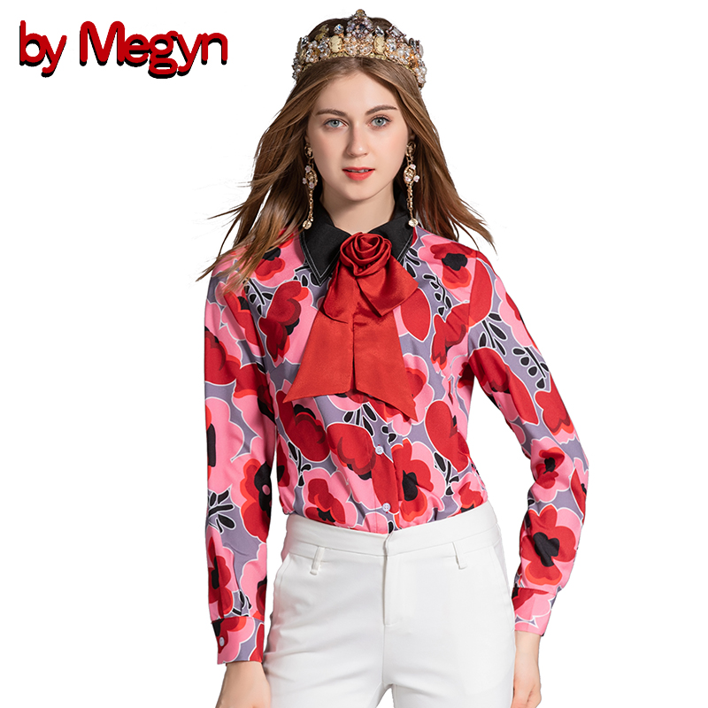 by Megyn women tops and shirts 2019 new long sleeve rose bow print shirts blouses plus