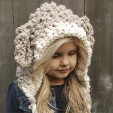 Новая модная инновационная детская грубая шерстяная Осенняя шапка с мультяшным Кроликом, зимняя теплая вязаная шапка, удобная милая мягкая детская шапка