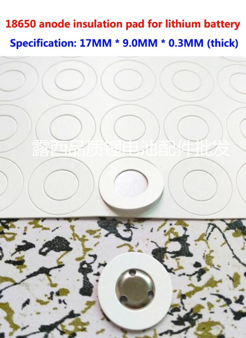 Купить с кэшбэком 100Pcs 18650 lithium battery positive electrode hollow flat head insulation pad meson 18500 positive surface pad 17*9.0*0.3