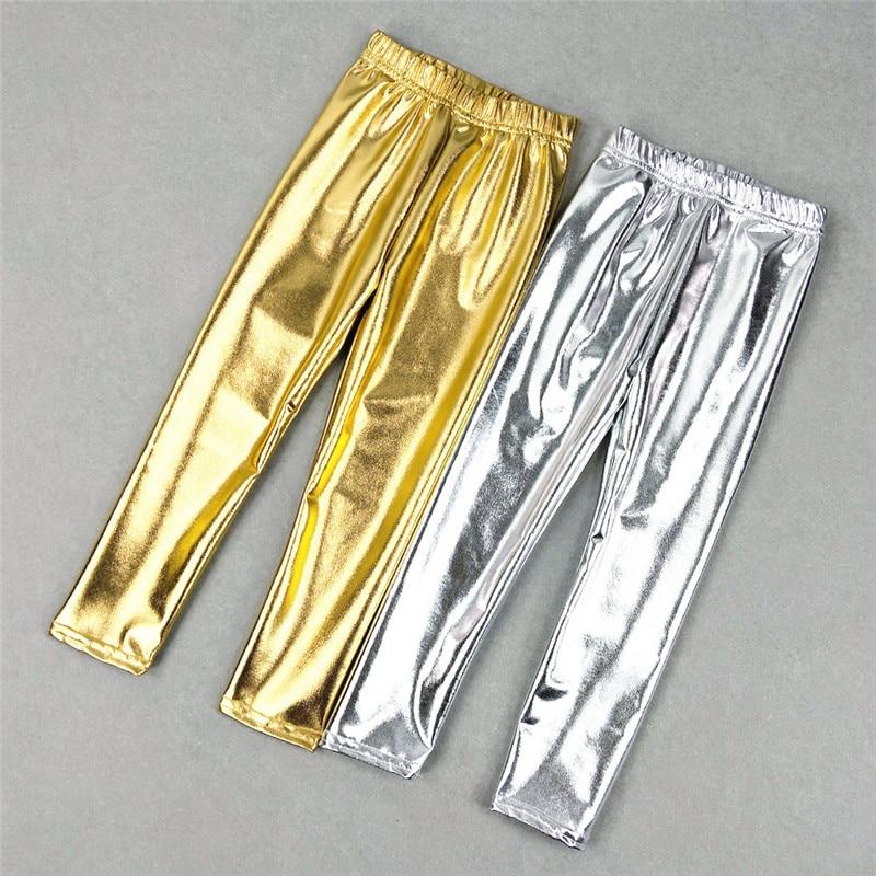 Çocuk kız tozluk parlak altın gümüş uzun erkek serseri pantolon sonbahar bahar çocuklar pantolon Leggins