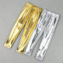 Leggings pour enfants, argent doré, brillant, pantalons Punk, longs pour garçons, pantalons pour enfants, automne et printemps