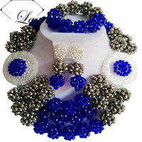 Laanc Dubai Jewelry Sets in Nigerian Wedding Sets African Beads Jewelry Set Royal Blue and Silver AL386