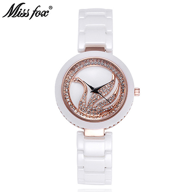Watches Women Luxury Brand Miss Fox New Fashion Ceramic Girl Watch 3ATM Waterproof Quartz Wrist Watch