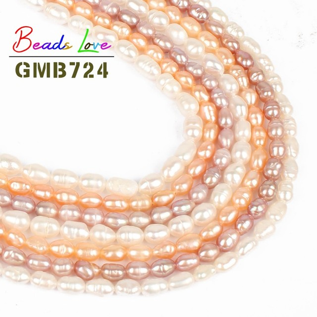 63727c3ea5844 4 4.5mm Natural Rice Shaped Freshwater Pearl Beads for Jewelry Making Round  Loose bead Diy Necklace Bracelet Jewellery 15''-in Beads from Jewelry & ...