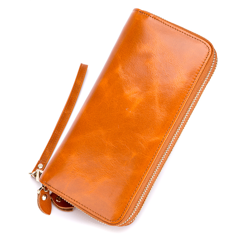 Brand Design Genuine Oil Waxing Leather Double Zipper Women Wallets Large Capacity Zipper Purse 2018 Multi-Card Bit Card Wallet
