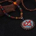 Moda evadir esmaltado étnico collar de los colgantes de joyería de la placa de la vendimia de Nepal, hecha a mano sanwood bodhi cuentas de flores de la vendimia collar