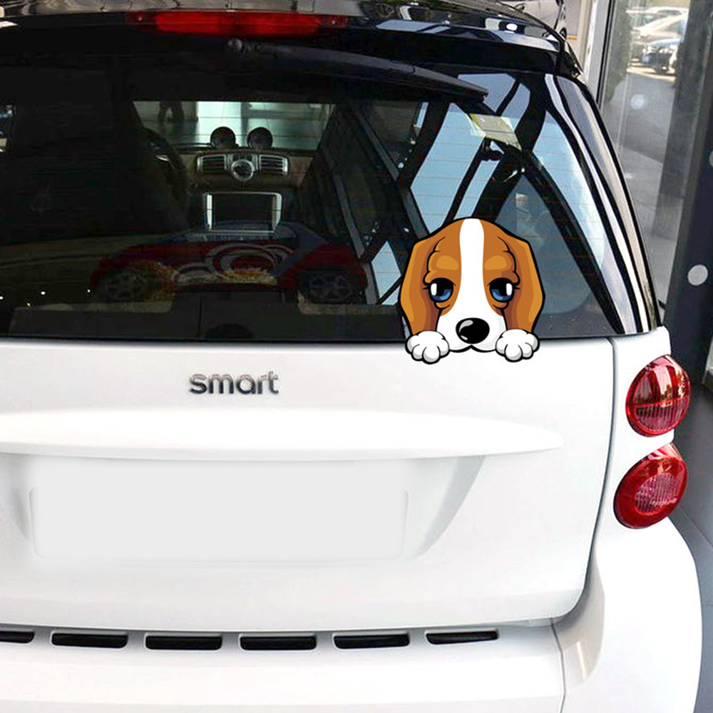 Car styling cartoon dog peep funny car sticker window decal glass accessories for bmw e46 ford focus 2 3 opel vw skoda polo golf