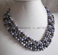 song voge gem nanJ2348 Multi Color Baroque Freshwater Pearl Necklace B AC
