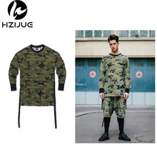 HZIJUE 2017 mens t shirts fashion homme Kanye t-shirt hip hop camouflage long sleeve tshirt swag streetwear justin bieber tees(China)