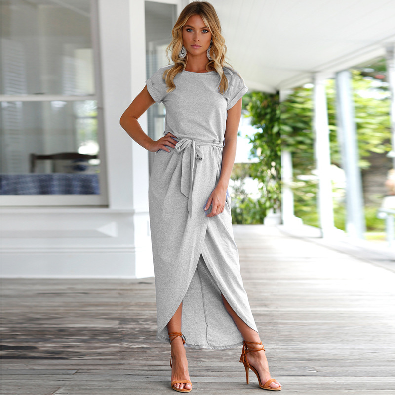 Women Summer Dress Asymmetrical Solid Ankle-length Empire O-neck Lady Beach Dresses