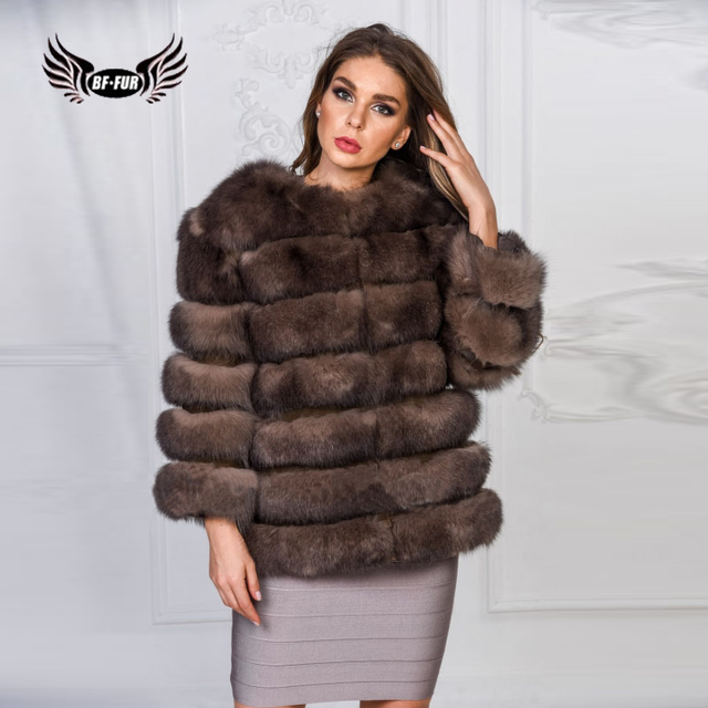 6f0c00fa47c BFFUR Real Fox Fur Coat 2018 Women Clothing Winter Genuine Leather Jacket  Full Pelt Thick Warm Fur Coats Outerwear Womens Casual