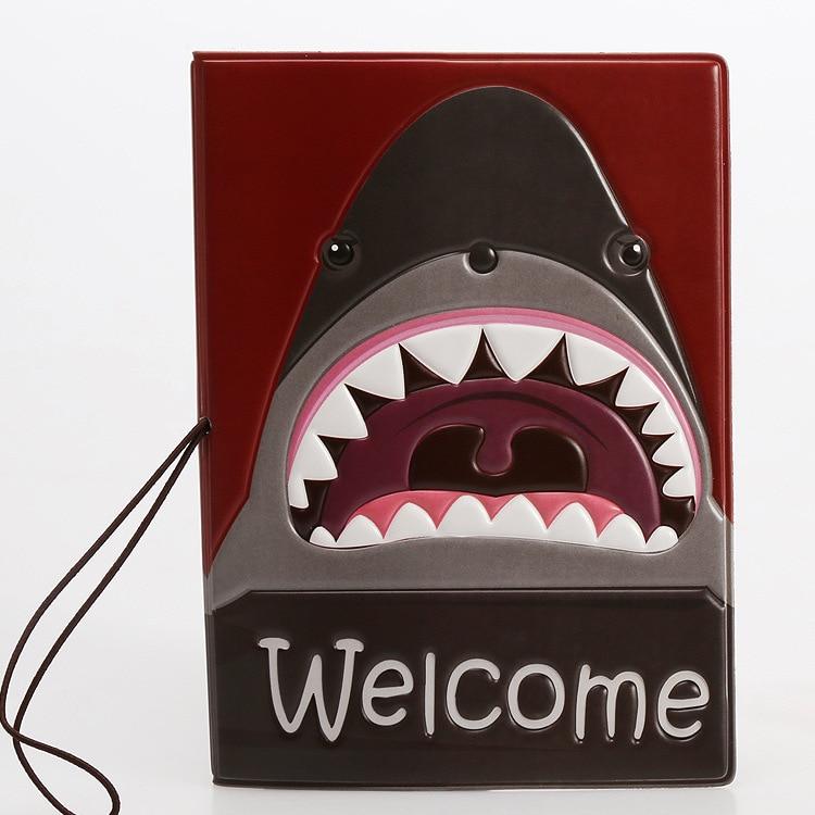 HARJOBEN 3D Shark Motif Passport Covers Documents Case Passport Holder
