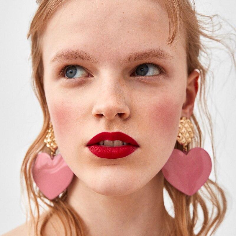 FASHIONSNOOPS New Hot Heart Shaped Charm Resin Drop Earrings for Women Wedding Boho Cute Love Dangle Earring Jewelry Earrings