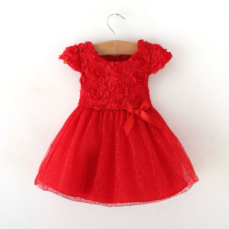 Red Baby Girls Dress Summer Lace Tutu Dresses 5 Layer Short Ball Gown Princess Party Dress Bow Infant Kids Girl Clothes
