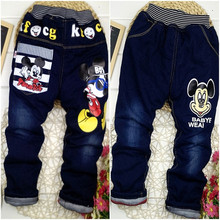 1-4Y Baby Girl Boy Jeans Trousers Minnie Pants Cotton warm Mickey Kid Pant Boys Girls Kitty Clothes Autumn winter Denim Jean