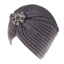0aeee5a7ef9 Women Vintage Knit Turban Beanie Hats Headwraps Fashion Ladies Rhinestone  Wool Cap Flapper Hat Twist Pleated