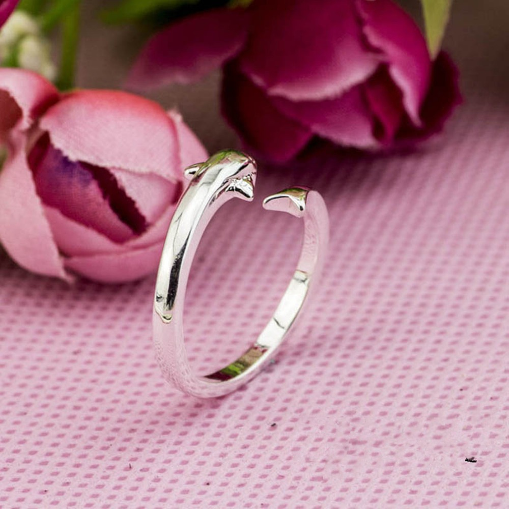 925 Sterling Silver Dolphin Open Rings For Women Fashion Style Lady ...
