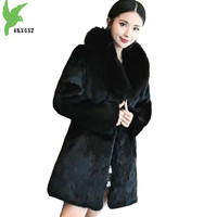 Faux Fur Coat Womens Winter 2018 New Plus size S 6XL High quality Mink Fur Parkas Fox fur collar Hooded Fur Coat Female Slim1969